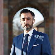 Aamer Anwar outside his office in Glasgow, Scotland. Mr Anwar is the lawyer of Clara Ponsati. A European arrest warrant has been issued for Ms Ponsati.<br /> 26th March 2018