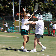Nola Collins, Australia, and Mary Gordon, Australia, winning the 70 Womens Doubles Final during the 2009 ITF Super-Seniors World Team and Individual Championships at Perth, Western Australia, between 2-15th November, 2009.