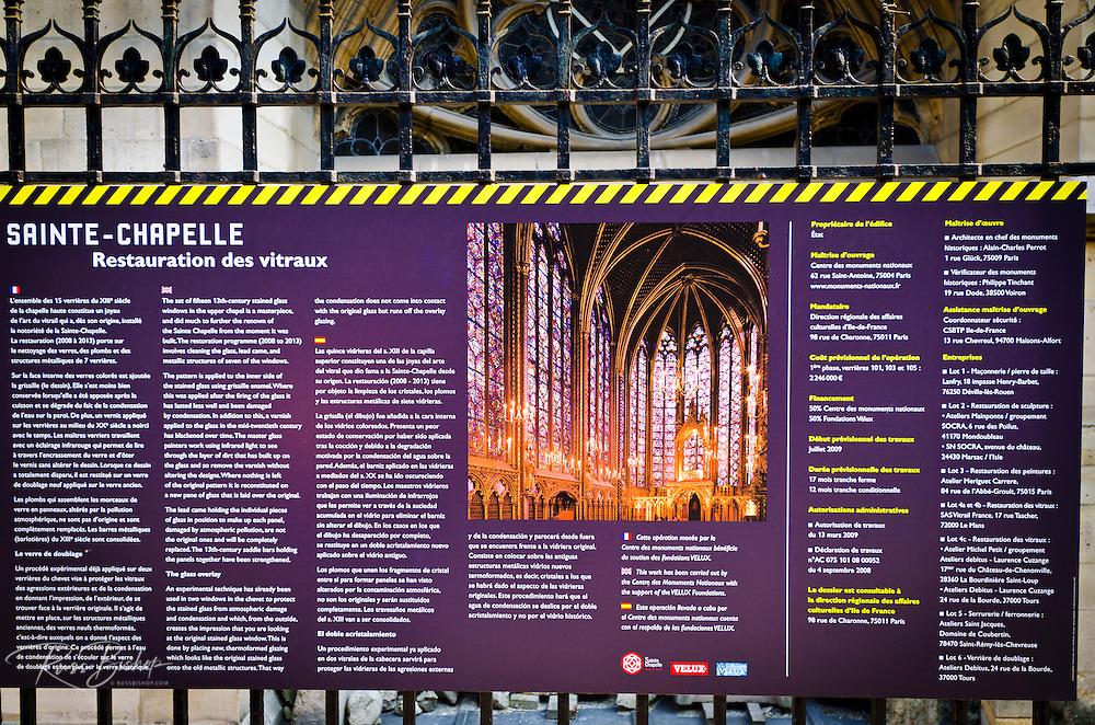 Interpretive sign descibing the restoration at Sainte-Chapelle Chapel, Paris, France