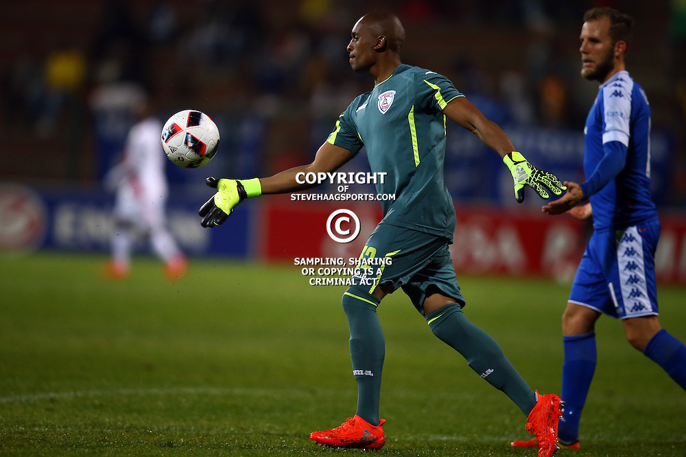 Thela Ngobeni Goalkeeper of Free State Stars during the 2016 Premier Soccer League match between Supersport United and The Free Stat Stars held at the King Zwelithini Stadium in Durban, South Africa on the 24th September 2016<br /> <br /> Photo by:   Steve Haag / Real Time Images
