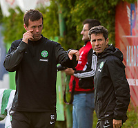 11/07/14 PRE-SEASON FRIENDLY<br /> DUKLA PRAGUE v CELTIC<br /> STEYR - AUSTRIA<br /> Celtic manager Ronny Deila and assistant John Collins (right) consult their dugout