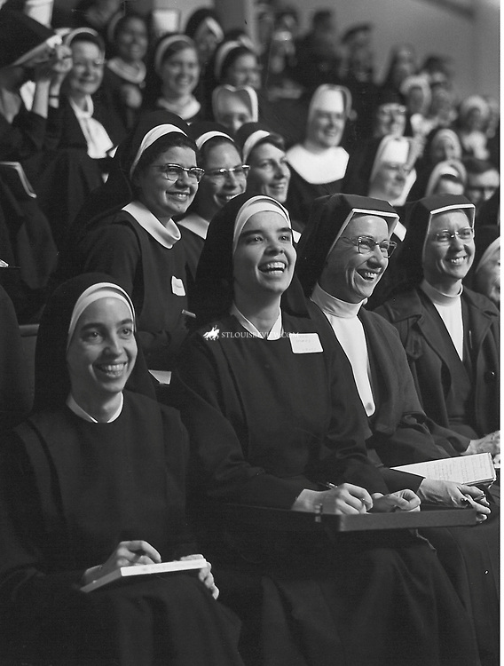 This  group of women religious were all smiles at a vocations institute held in 1967.