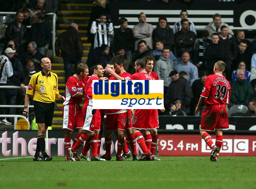 Photo: Andrew Unwin.<br />Newcastle United v Middlesbrough. The Barclays Premiership. 02/01/2006.<br />Middlesbrough celebrate their second goal.