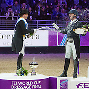 Isabell Werth (GER) riding Weihegold OLD, winner of the FEI World Cup Dressage Finals in Omaha, Nebraska with Laura Graves (USA) and Carl Hester (GBR) on the podium.
