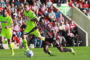 Amari Morgan-Smith and Liam Hogan during the Vanarama National League match between Cheltenham Town and Tranmere Rovers at Whaddon Road, Cheltenham, England on 26 September 2015. Photo by Antony Thompson.