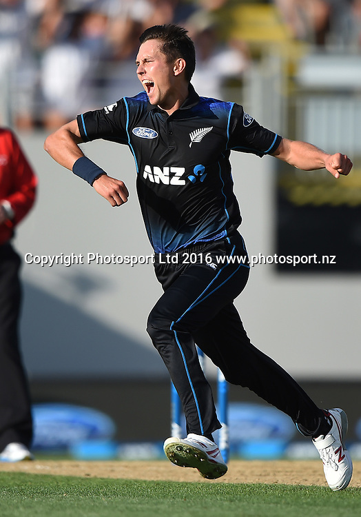 Trent Boult celebrates the wicket of Mitchell Marsh. New Zealand Black Caps v Australia, Chappell Hadlee Trophy and ANZ ODI Cricket Series. Eden Park, Auckland, New Zealand. Wednesday 3 February 2016. Copyright photo: Andrew Cornaga / www.photosport.nz