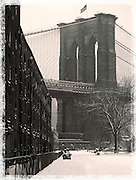 Brooklyn Bridge in a snowstorm in black and white on Dec. 9, 2005