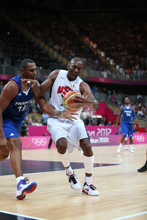 Kobe Bryant of the USA in action against France during Day 2 of the London Olympic Games in London, England, United Kingdom on 29 Jul 2012..(Jed Jacobsohn/for The New York Times)....