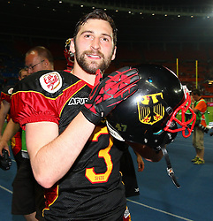 07.06.2014, Ernst Happel Stadion, Wien, AUT, American Football Europameisterschaft 2014, Finale, Oesterreich (AUT) vs Deutschland (GER), im Bild Jubel von Sebastian Schoenbroich, (Team Germany, DB, #3) nach dem Sieg // during the American Football European Championship 2014 final game between Austria and Denmark at the Ernst Happel Stadion, Vienna, Austria on 2014/06/07. EXPA Pictures © 2014, PhotoCredit: EXPA/ Thomas Haumer