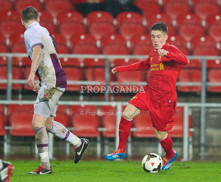 ST. HELENS, ENGLAND - Wednesday, January 15, 2014: Liverpool's Harry Wilson in action against Aston Villa during the FA Youth Cup 4th Round match at Langtree Park. (Pic by David Rawcliffe/Propaganda)