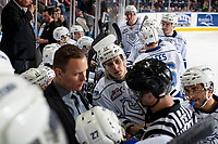 KELOWNA, CANADA - DECEMBER 7:  D-Jay Jerome #12 of the Victoria Royals stands at the bench while the head coach speaks to the referee during a time out against the Kelowna Rockets on December 7, 2018 at Prospera Place in Kelowna, British Columbia, Canada.  (Photo by Marissa Baecker/Shoot the Breeze)