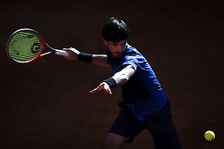 April 30, 2018 - Estoril, Portugal - Gastao Elias from Portugal returns a ball to Alex de Minaur from Australia during the Millennium Estoril Open CCC round tennis tournament in Estoril, outskirts of Lisbon, Portugal on April 30, 2018  (Credit Image: © Carlos Costa/NurPhoto via ZUMA Press)