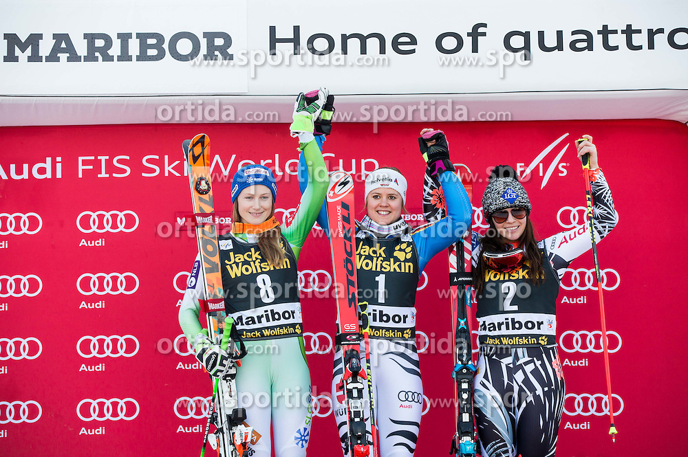 Second placed Ana Drev (SLO), winner Viktoria Rebensburg (GER) and third placed Tina Weirather (LIE) celebrate at victory ceremony after the 7th Ladies' Giant slalom at 52nd Golden Fox - Maribor of Audi FIS Ski World Cup 2015/16, on January 30, 2016 in Pohorje, Maribor, Slovenia. Photo by Vid Ponikvar / Sportida