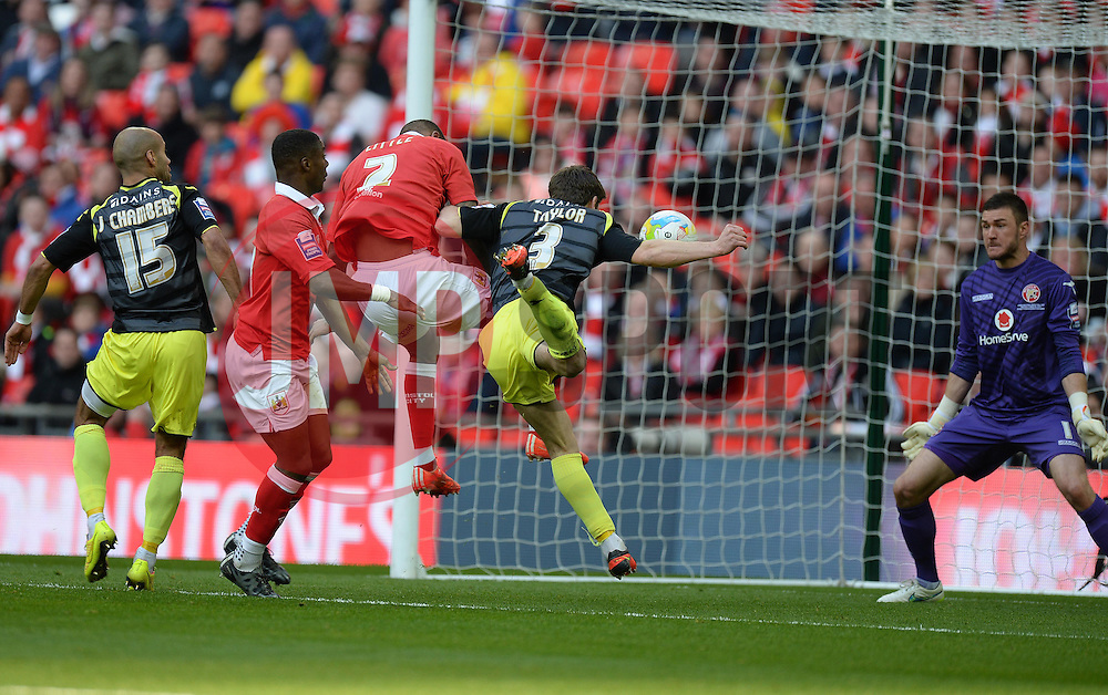 Bristol City's Mark Little scores. - Photo mandatory by-line: Alex James/JMP - Mobile: 07966 386802 - 22/03/2015 - SPORT - Football - London - Wembley Stadium - Bristol City v Walsall - Johnstone Paint Trophy Final