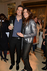 BARNABY & CHRISTINA THOMPSON at a Dinner to celebrate the launch of the Mulberry Cara Delevingne Collection held at Claridge's, Brook Street, London on 16th February 2014.
