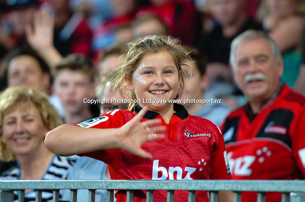A fan during the Super Rugby Match, Crusaders V Kings, AMI Stadium, Christchurch, New Zealand. 19th March 2016. Copyright Photo: John Davidson / www.photosport.nz
