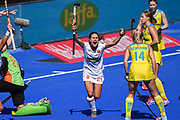 Beatriz Perez of Spain (21) celebrates her team mate Berta Bonastre of Spain (10) (out of shot) scoring a goal (0-2) during the Vitality Hockey Women's World Cup 2018 Bronze Medal match between Australia and Spain, at the Lee Valley Hockey and Tennis Centre, QE Olympic Park, United Kingdom on 5 August 2018. Picture by Martin Cole.
