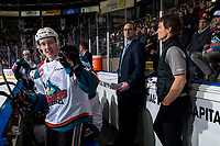 KELOWNA, BC - JANUARY 26: Lassi Thomson #2 of the Kelowna Rockets taunts the bench of the Vancouver Giants  at Prospera Place on January 26, 2019 in Kelowna, Canada. (Photo by Marissa Baecker/Getty Images)