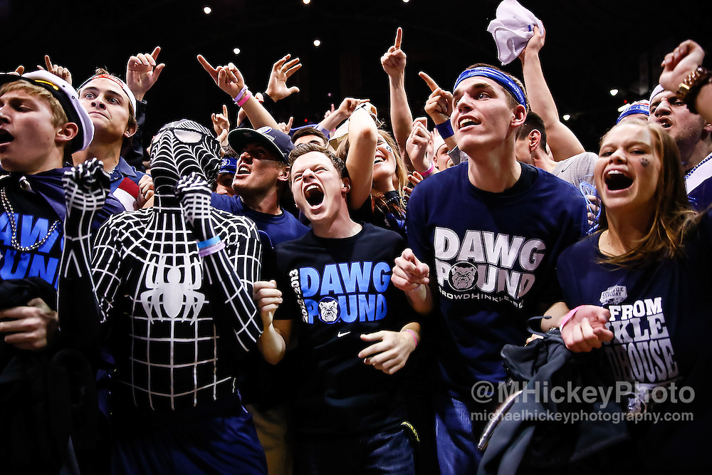 INDIANAPOLIS, IN - JANUARY 19: Butler University students celebrate on the floor after the game against the Gonzaga Bulldogs at Hinkle Fieldhouse on January 19, 2013 in Indianapolis, Indiana. Butler defeated Gonzaga 64-63. (Photo by Michael Hickey/Getty Images)