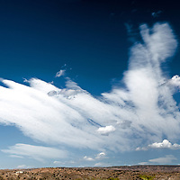 Windswept clouds against a perfect blue sky on a summer's day in America