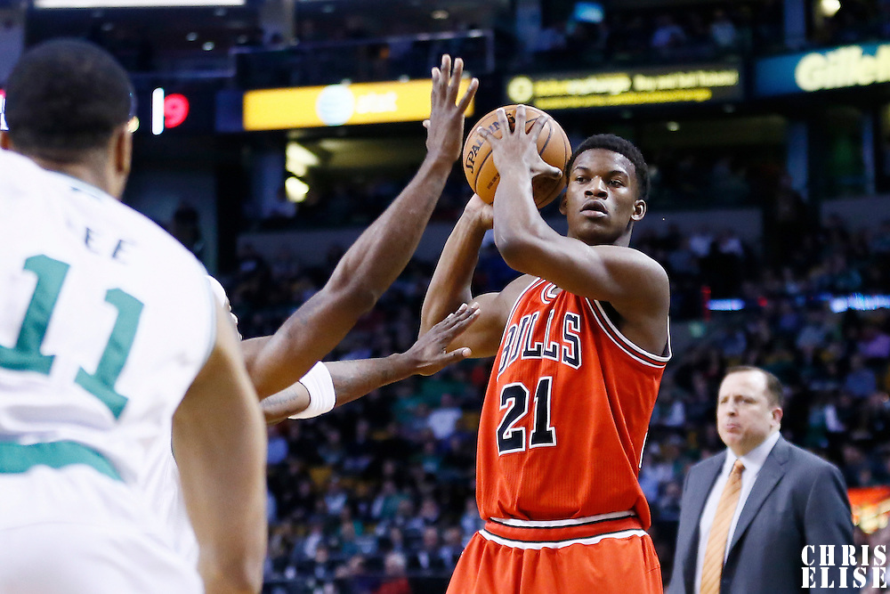 13 February 2013: Chicago Bulls small forward Jimmy Butler (21) looks to pass the ball during the Boston Celtics 71-69 victory over the Chicago Bulls at the TD Garden, Boston, Massachusetts, USA.