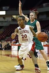 17 December 2006: Tiffany Hudson moves inside on Sarah Vanmetre. In a non-conference game, the Eagles of Eastern Michigan  lost by a score of 68-55 to the Redbirds in Redbird Arena on the campus of Illinois State University in Normal Illinois.<br />