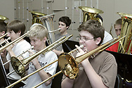Ferguson Middle School 8th Grade Band members (left to right, front row) Tyler Corbitt, Dan Herting and Michael Stipich; (back row) Al Alley, Nathan Bartell and Kyle Dorsten rehearse at  Beavercreek High School, Tuesday, May 1st.
