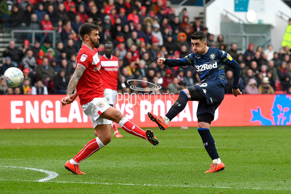 Pablo Hernandez (19) of Leeds United shoots at goal during the EFL Sky Bet Championship match between Bristol City and Leeds United at Ashton Gate, Bristol, England on 9 March 2019.