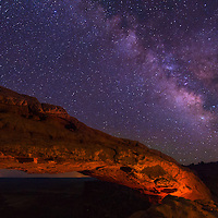 Milky Way visible over Mesa Arch in Canyonlands National Park Utah.