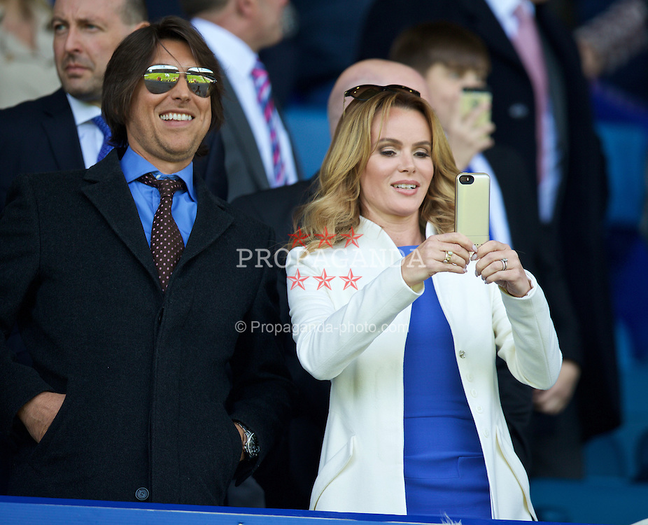 LIVERPOOL, ENGLAND - Sunday, April 26, 2015: Everton supporter and actress Amanda Holden with husband Chris Hughes before the Premier League match against Manchester United at Goodison Park. (Pic by David Rawcliffe/Propaganda)