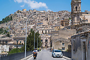 Small town car in the ancient hill city of Modica Alta famous for its Baroque architecture, South East Sicily, Italy