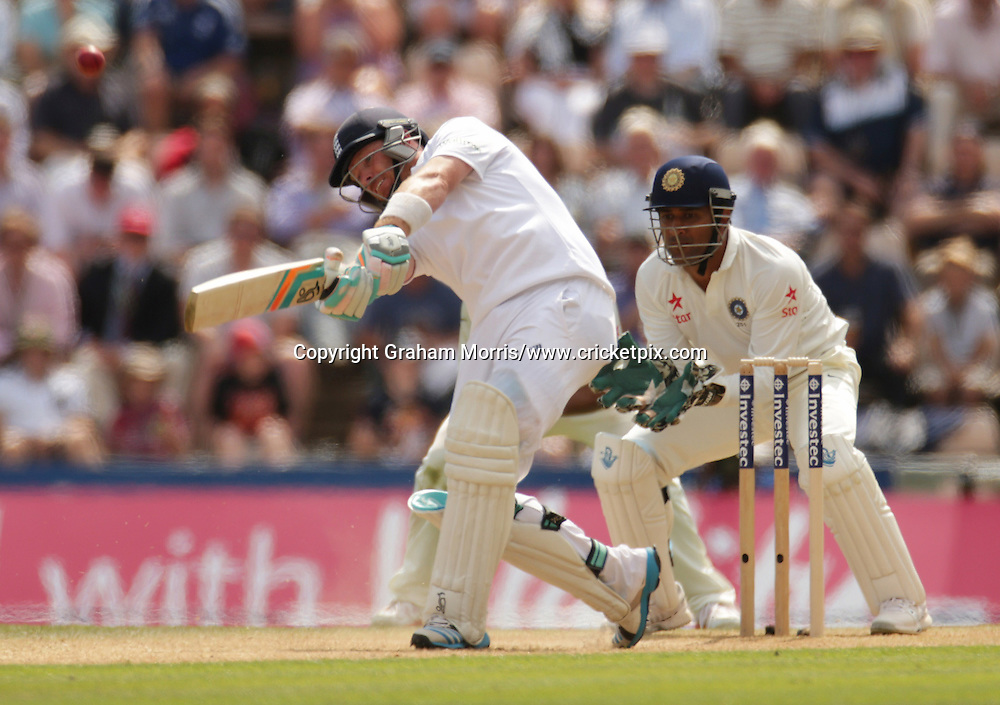 Ian Bell reaches his six with a six off Ravindra Jadeja during the third Investec Test Match between England and India at the Ageas Bowl, Southampton. Photo: Graham Morris/www.cricketpix.com (Tel: +44 (0)20 8969 4192; Email: graham@cricketpix.com) 28/07/14