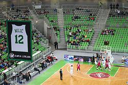 Marko Milic jersey during basketball match between KK Union Olimpija Ljubljana and Telekom Baskets Bonn (GER) in Round 3 of EuroCup 2015/16, on October 28, 2015 in Arena Stozice, Ljubljana, Slovenia. Photo by Matic Klansek Velej / Sportida.com