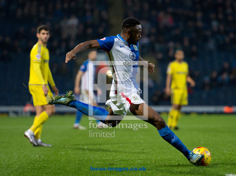 Bengadli-Fode Koita of Blackburn Rovers prepares to shoot during the Sky Bet Championship match at Ewood Park, Blackburn<br /> Picture by Russell Hart/Focus Images Ltd 07791 688 420<br /> 14/12/2015