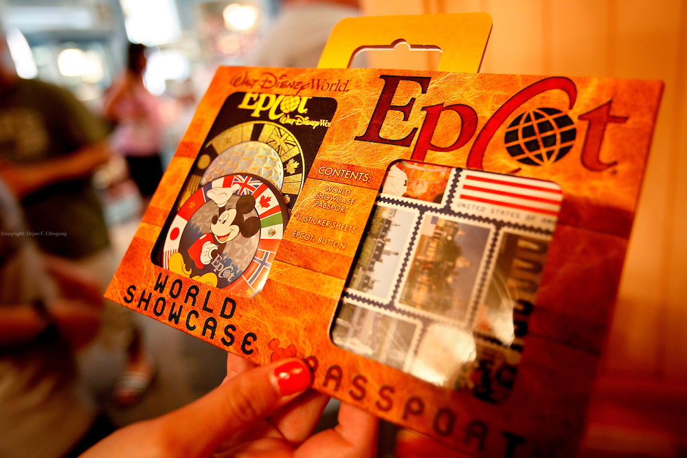 Orlando, Florida, USA, 20090325:   The Disney EPCOT Center in Orlando. A World Showcase Passport to be used in the different countries represented in the World Showcase. Photo: Orjan F. Ellingvag/ Dagbladet/ Corbis