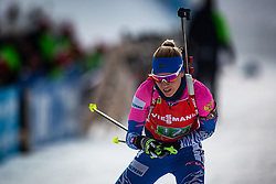 Kristina Reztsova (RUS) finishing the Single Mixed Relay 6 km / 7,5 kmn at day 3 of IBU Biathlon World Cup 2019/20 Pokljuka, on January 23, 2020 in Rudno polje, Pokljuka, Pokljuka, Slovenia. Photo by Peter Podobnik / Sportida