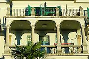 Two large balconies with elegant wrought iron railings. Opatija, Croatia