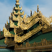 Ornate roof decorations at Soon Oo Pon Nya Shin Pagoda. Sitting on top of Nga-pha Hill, Soon Oo Pon Nya Shin Pagoda is one of multiple pagodas and temples in the religious district of Sagaing, near Mandalay. The original pagoda dates to 674.