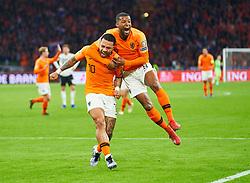 March 24, 2019 - Amsterdam, France - Memphis DEPAY, NL 10 scores, shoots goal for 2-2, celebrates his goal for , happy, laugh, celebration, Georginio WIJNALDUM, NL 8 (Credit Image: © Panoramic via ZUMA Press)