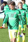 Hibernian midfielder Ryan Gauld (13) in warm up during the Ladbrokes Scottish Premiership match between St Mirren and Hibernian at the Paisley 2021 Stadium, St Mirren, Scotland on 27 January 2019.