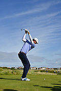 Stewart Hagestad (USA) plays from the 12th tee during the Sunday Foursomes in the Walker Cup at the Royal Liverpool Golf Club, Sunday, Sept 8, 2019, in Hoylake, United Kingdom. (Steve Flynn/Image of Sport)