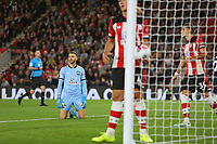 Football - 2019 / 2020 Premier League - Southampton vs. AFC Bournemouth<br /> <br /> Southampton's Angus Gunn looks to the assistant referee after Bournemouth's Joshua King scores but is then ruled out by VAR for offside at St Mary's Stadium Southampton<br /> <br /> COLORSPORT/SHAUN BOGGUST