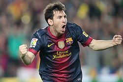 07-10-2012 VOETBAL: BARCELONA - REAL MADRID: BARCELONA<br /> Lionel Messi goal  // during during the Spanish Primera Division 7th round match between Barcelona FC and Real Madrid CF at Camp Nou, Barcelona<br /> ***NETHERLANDS ONLY***<br /> ©2012-FotoHoogendoorn.nl-Cesar Cebolla