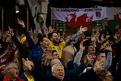 DUBLIN, IRELAND - Tuesday, October 16, 2018: Wales supporters celebrate the winning goal during the UEFA Nations League Group Stage League B Group 4 match between Republic of Ireland and Wales at the Aviva Stadium. Wales won 1-0. (Pic by David Rawcliffe/Propaganda)