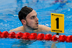 James Guy of Great Britain looks on after he swims in the Mens 400m Freestyle Heats, failing to qualify for the final despite being the reigning World Silver Meadllist, with his focus seemingly more on his training for the Rio Olympics  - Mandatory byline: Rogan Thomson/JMP - 16/05/2016 - DIVING - London Aquatics Centre - Stratford, London, England - LEN European Aquatics Championships 2016 Day 8.