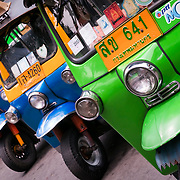 Tuk Tuks in the streets of Bangkok, Thailand