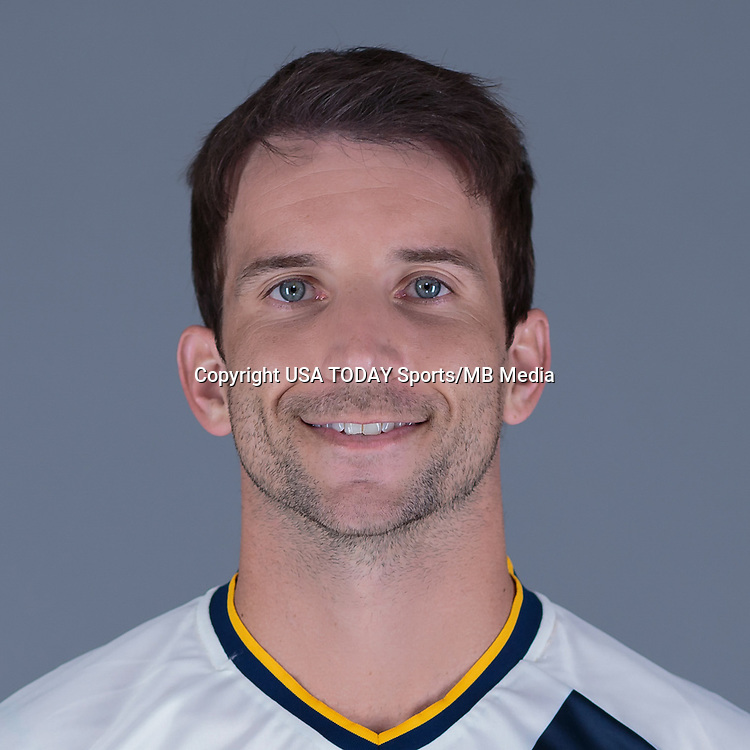 Feb 25, 2016; USA; LA Galaxy player Mike Magee poses for a photo. Mandatory Credit: USA TODAY Sports