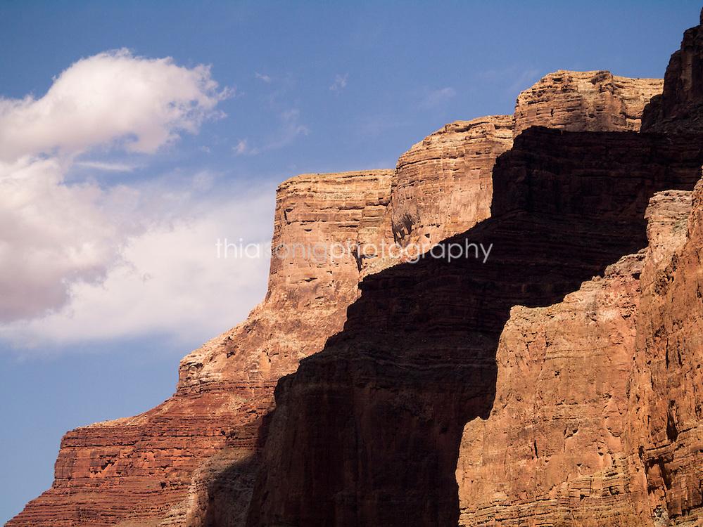 Shadows on walls of Grand Canyon, AZ