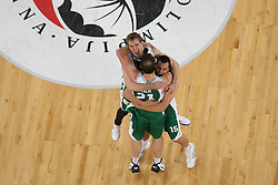 Zoran Dragic, Jure Balazic and Jure Lali? of Krka  after basketball match between KK Union Olimpija and KK Krka in 4nd Final match of Telemach Slovenian Champion League 2011/12, on May 24, 2012 in Arena Stozice, Ljubljana, Slovenia. Krka defeated Union Olimpija 65-55. (Photo by Grega Valancic / Sportida.com)