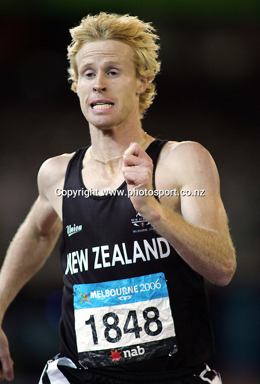 New Zealands Jason Stewart in action during the Mens 800m Final in the Athletics at the MCG on day eight of the XV111 Commonwealth Games,Melbourne ,Australia.Thursday March 23,2006.Photo:Joe Mann/PHOTOSPORT. *** Local Caption ***